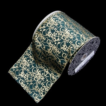 メリークリスマス グリーン/ゴールド 巾12.5cm 9M巻