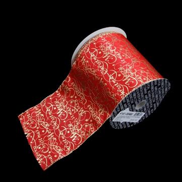 メリークリスマス レッド/ゴールド 巾12.5cm 18M巻