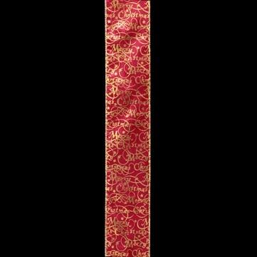 メリークリスマス ワイン/ゴールド 巾7.5cm 9M巻