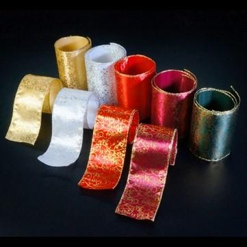 メリークリスマス レッド/ゴールド 巾7.5cm 9M巻