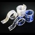 スノーフレーク ブルー/ホワイト 巾5cm 9M巻